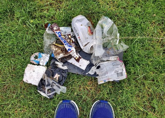 A picture of rubbish collected by Lonely Goat Running Club member, Martin Drewery